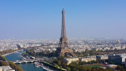 Aerial view of Paris, the Seine river and  Eiffel tower