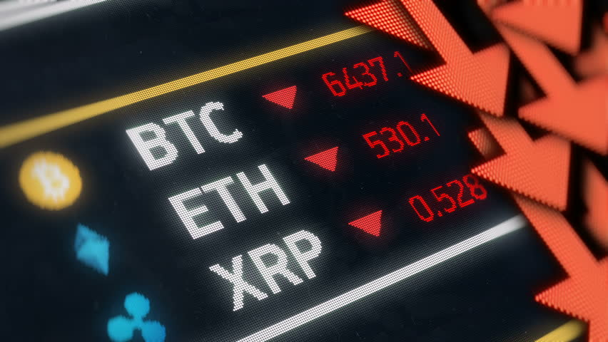 Bitcoin crash, cryptocurrency prices falling, stock market fluctuation.  Digital money prices going down  | Shutterstock HD Video #1019752387