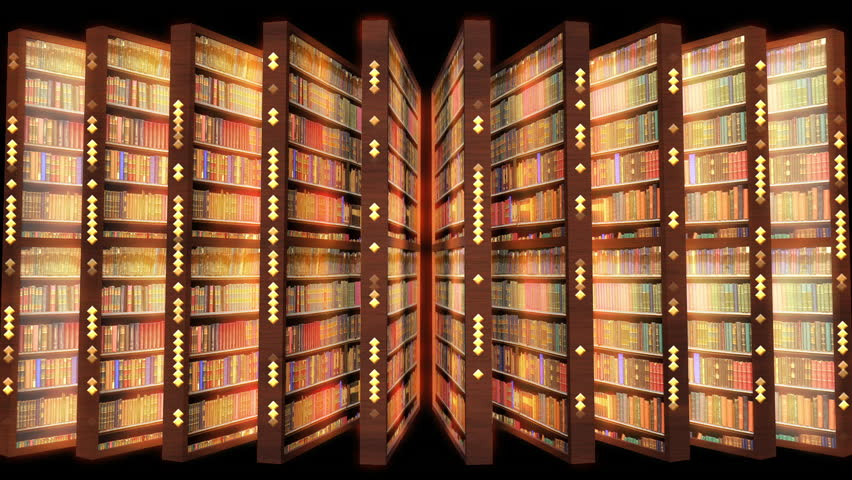 Rows of library bookshelves with diamond patterns appearing on the side | Shutterstock HD Video #1019839057