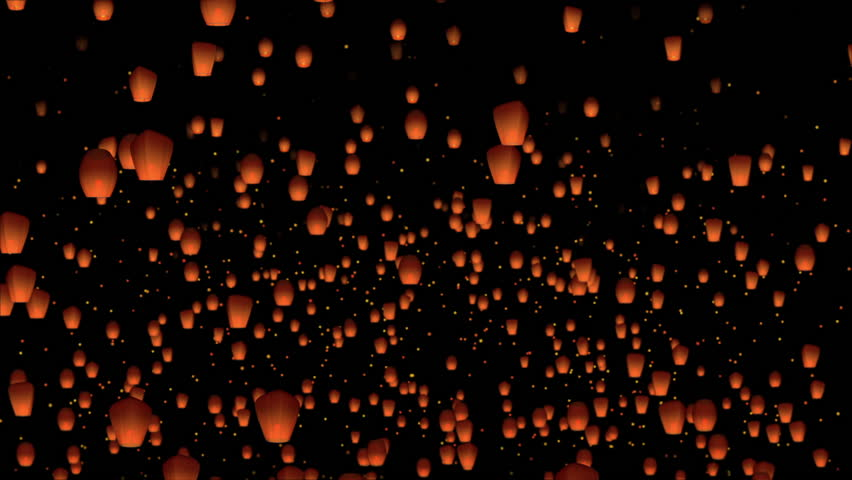 Floating orange lanterns with orange particles on a dark night sky background #1019840347