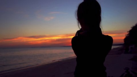 Dark Silhouette of Young Woman Stock Footage Video (100