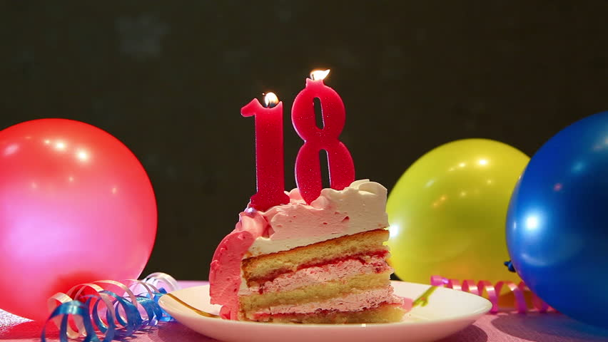 Happy Eighteenth Birthday Cake And Stock Footage Video 100 Royalty