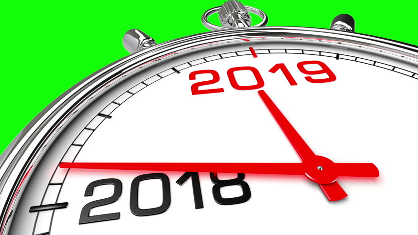 new year 2019 clock green screen clock countdown from year 2018 to 2019 perfect for your own background clean mask on green screen