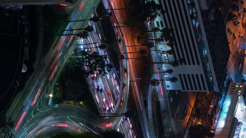Timelapse overview with pan motion of rush hour traffic in downtown Los Angeles -Vertical Shot- | Shutterstock HD Video #1020023287