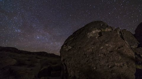 Motion controlled astrophotography time lapse with pan & zoom in motion of Milky Way galaxy over ancient Native American petroglyphs in Eastern Sierra, California