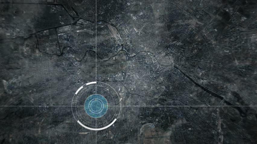 Surveillance drone or satellite camera scanning Berlin, Germany