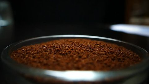 Spoon take freshly ground coffee. Brew smelling morning coffee. Cooking hot bracing drink. Arabica cup.