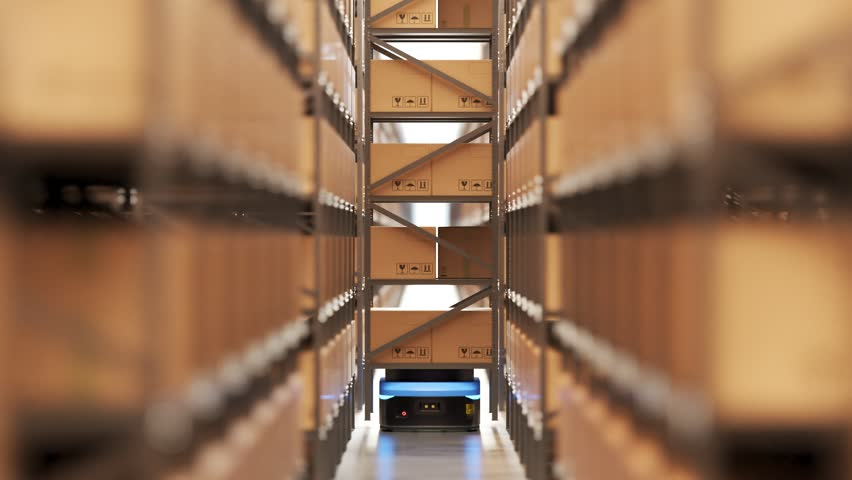 Animation with warehouse industry autonomic robot carrying a shelf with cardboard boxes. Fully automatic unmanned system of cargo distribution. Computer coordinated efficient logistic process. 4K.  | Shutterstock HD Video #1020096157