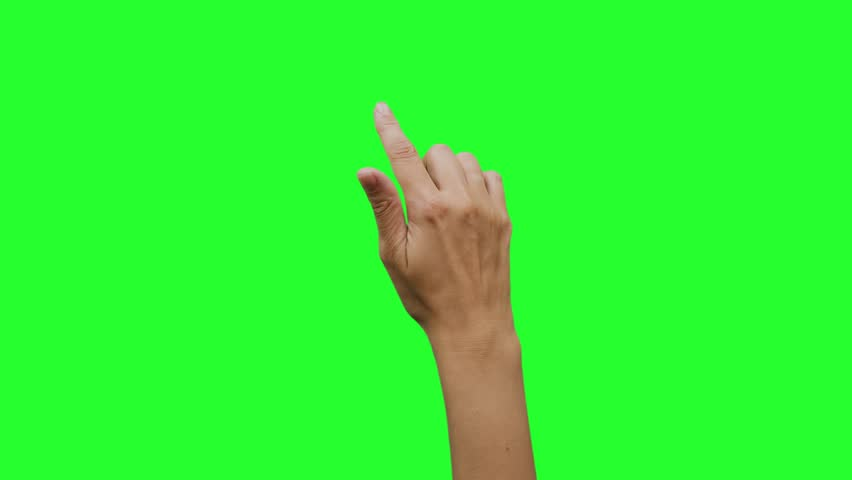 Hand gestures. Touchscreen. Female hand showing multitouch gestures in green screen.  #1020102457