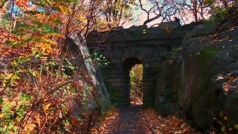 Walk in Central Park in Autumn with foliage in Midtown Manhattan New York City