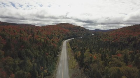 Aerial view on the scenic road surrounded by the beautiful colorful forest during a fall season. Taken in Ontario, Canada.