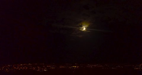 Glasgow skyline from drone, at night. Scotland.