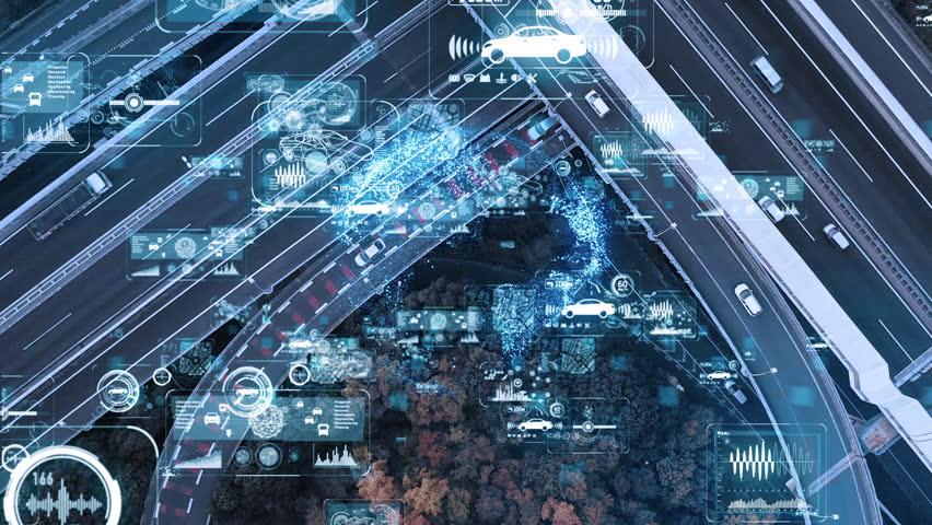 Smart transportation and communication network concept. | Shutterstock HD Video #1020195907
