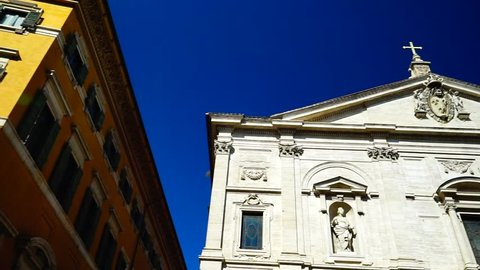 Rome, Italy: august 19, 2018: External façade of the church of San Luigi dei Francesi, a Roman Catholic place of worship overlooking the homonymous square, not far from Piazza Navona