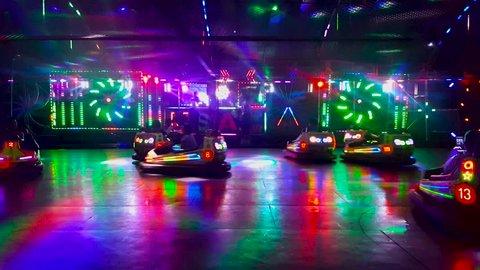 Sriracha, Chonburi THAILAND Nov 25, 2018: Electric bumper cars or dodge cars at night carnival. Bumper car at amusement park ready to be taking a ride.