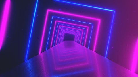 Flying through glowing rotating neon squares creating a tunnel, blue red pink violet spectrum, fluorescent ultraviolet light, modern colorful lighting, 4k loop animation