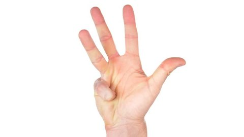 Hand counting from one 1 to five 5 against a white background