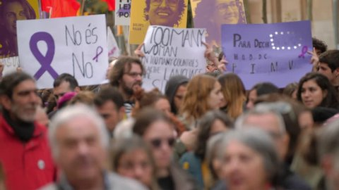Barcelona, Spain. November 25th 2018: Crowd of women. Feminist Activists in a Demonstration. March for the International Day of Nonviolence against Women and Children in Barcelona, Spain