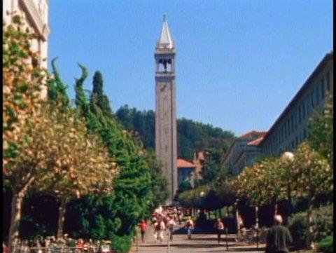 BERKELEY, CALIFORNIA, 1979, University of California, bell tower, trees, students