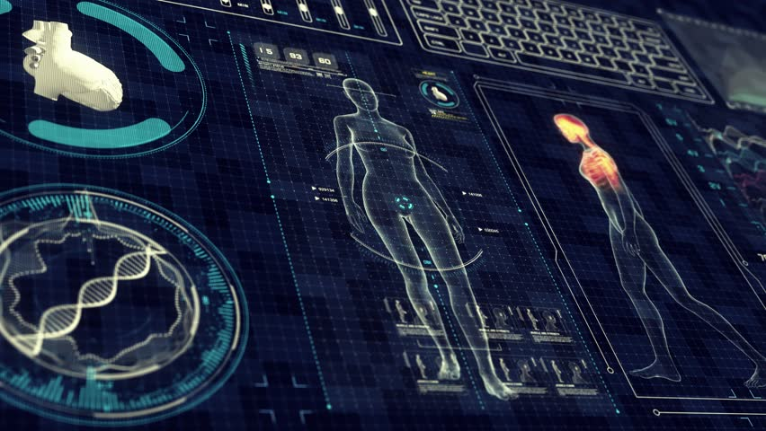 Human Female Anatomy WALKING with Futuristic Touch Screen Scan Interface in 3D x-ray - LOOP | Shutterstock HD Video #1020504637