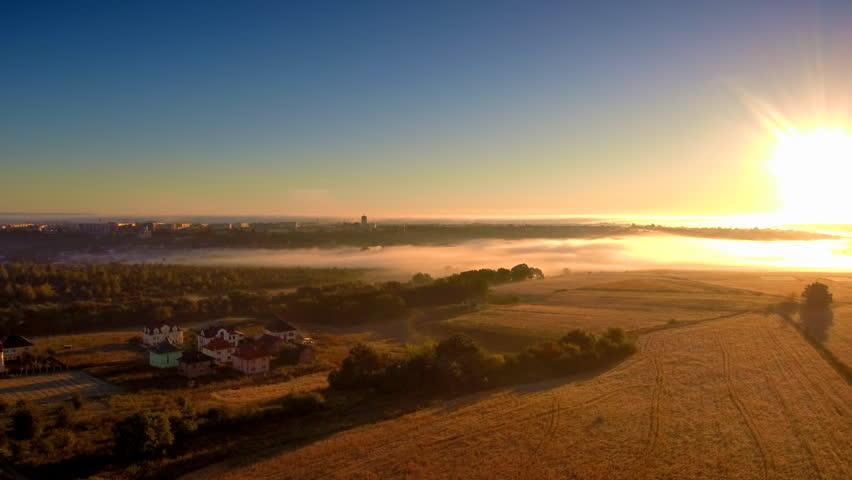 Panning drone flight along the field at foggy morning. FullHD 1080p. | Shutterstock HD Video #1020529987