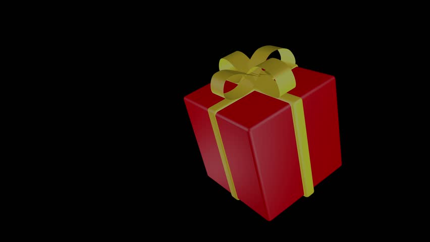 Red gift with a yellow ribbon, box, black background, isolated object, rotates, spins. | Shutterstock HD Video #1020578797
