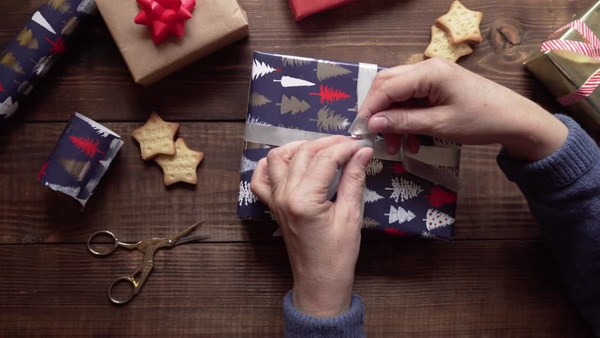 Wood christmas background with gifts | Shutterstock HD Video #1020700507