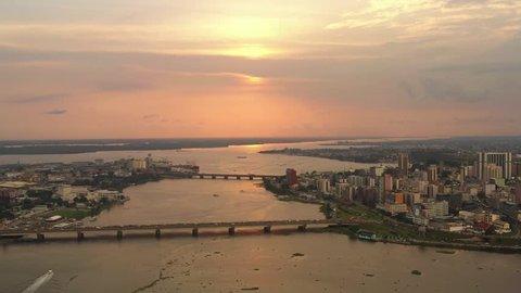 Abidjan Sunset, Ivory Coast, Africa, by drone