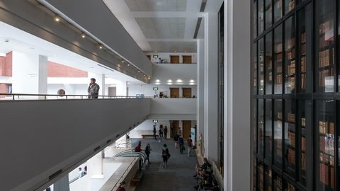 LONDON - MAY, 2018: Time lapse of British Library interior view. It is the national library of the United Kingdom and the largest national library in the world by number of items catalogued.