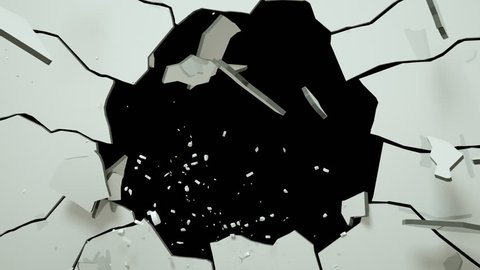 A bullet pierces the glass and shatters fly away. 3d render animation with alpha channel.