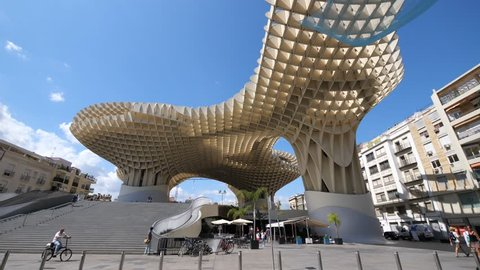 SEVILLE, SPAIN - JUNE, 2018: The Metropol Parasol square, designed by German architect Jurgen Mayer and completed in April 2011.