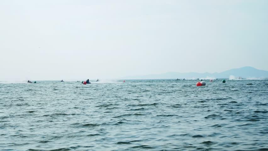 Silhouettes, aquabikes on the sea | Shutterstock HD Video #1020825997