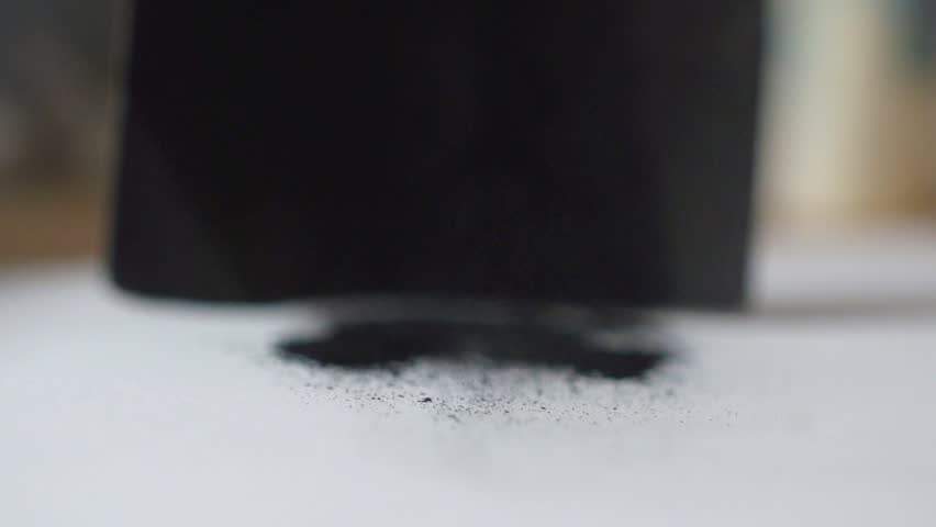 Coal black Powder Falling Against White Background, Slow Motion. painting art process to draw black coil  | Shutterstock HD Video #1020871507