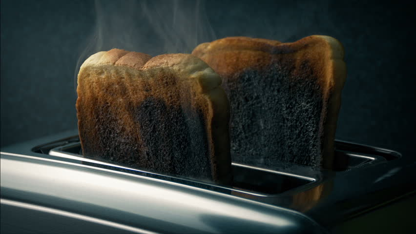 Burning Toast Pops Up In Toaster | Shutterstock HD Video #1020874267