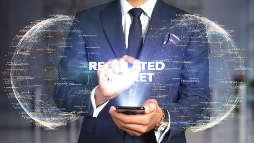 Businessman Hologram Concept Economics - Regulated market   Shutterstock HD Video #1020894907