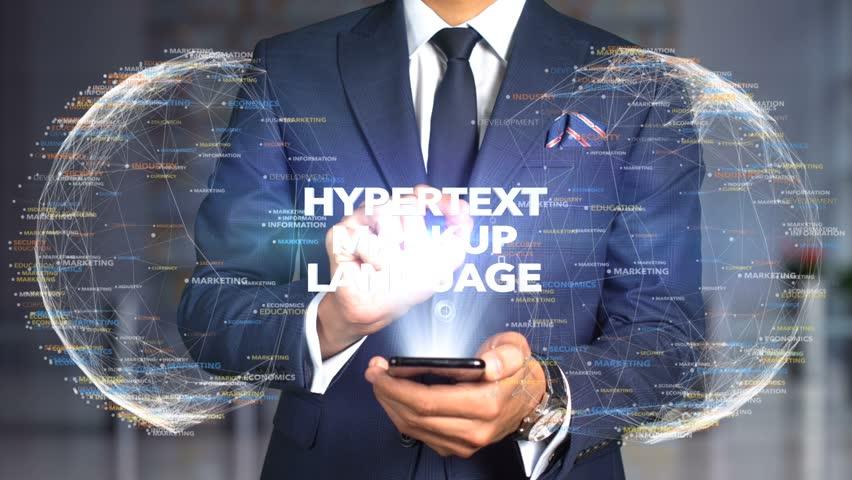 Businessman Hologram Concept Tech - HYPERTEXT MARKUP LANGUAGE   Shutterstock HD Video #1020897517
