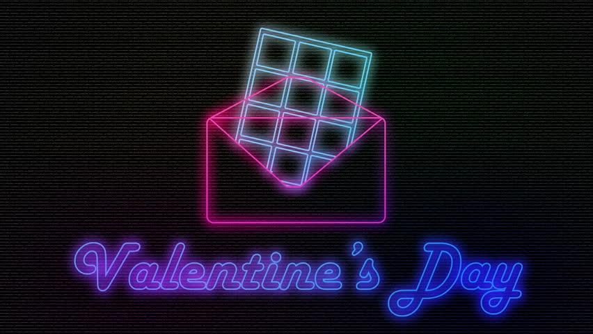 Animation neon retro candy chocolate exit of envelope. Valentine | Shutterstock HD Video #1020905407