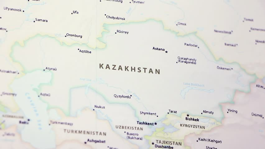 Kazakhstan Political Map.Kazakhstan On A Political Map Stock Footage Video 100 Royalty
