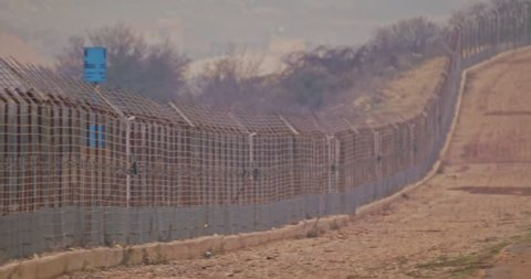 Border fence between Israel and Lebanon. barbed wire and electronic fence.