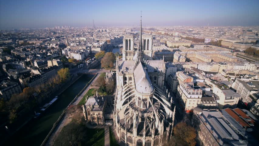 Notre Dame de Paris Cathedral drone | Shutterstock HD Video #1020972097