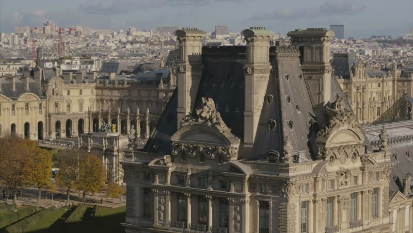 Le Louvre Paris drone aerial view | Shutterstock HD Video #1020972217