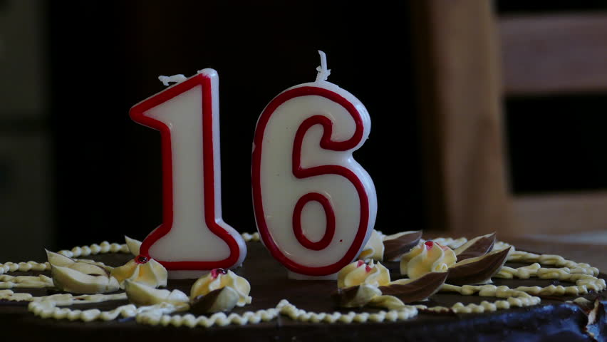 Sixteenth Birthday cake with numerical candles