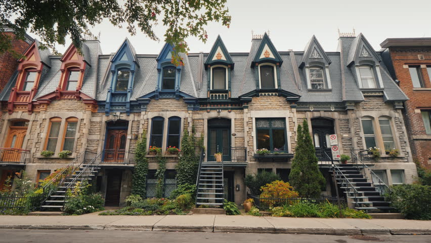 Colorful old Victorian Houses in Square Saint Louis - Montreal, Quebec, Canada. Beautiful multi-colored roofs
