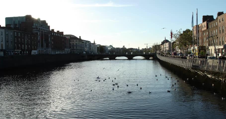 Liffey River Dublin    Shutterstock HD Video #1021109617