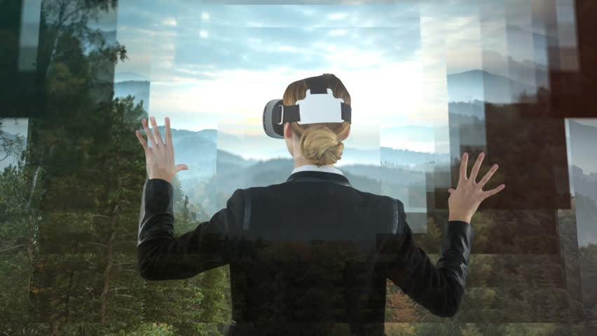 Businesswoman using VR against animated forest landscape background #1021127137