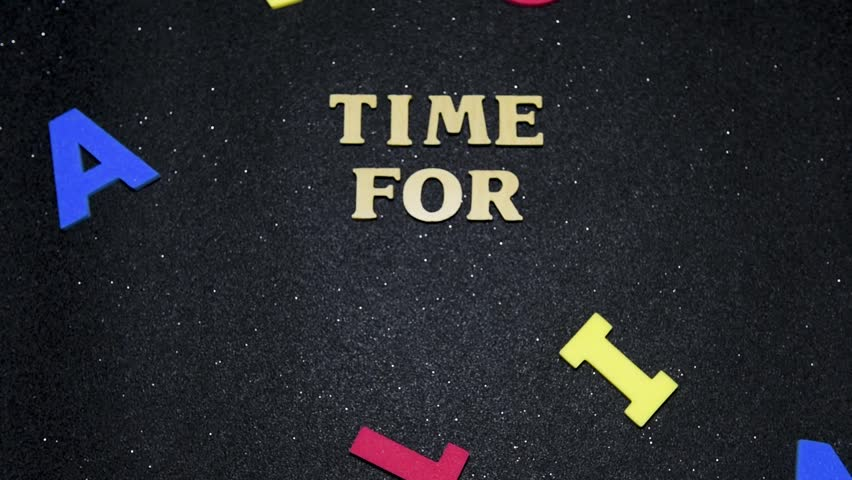 Time for action conceptual words, colorful alphabets moving on black background