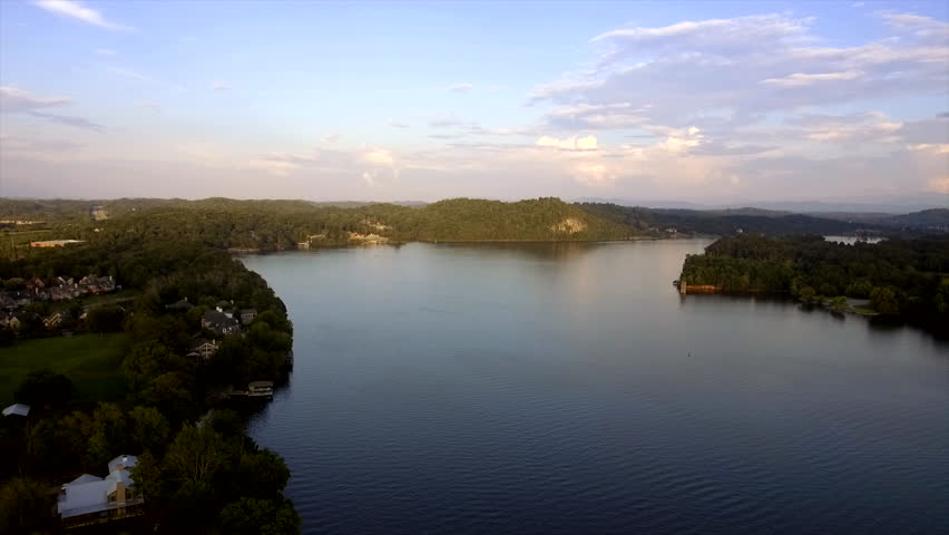 Drone shot at dusk on the Tennessee River. | Shutterstock HD Video #1021244767