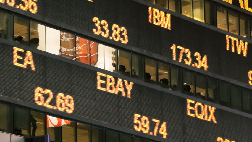 Illuminated stock market ticker  | Shutterstock HD Video #10213727