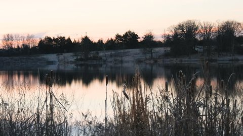 Static looking over a lake at sunrise with light fog and cattails
