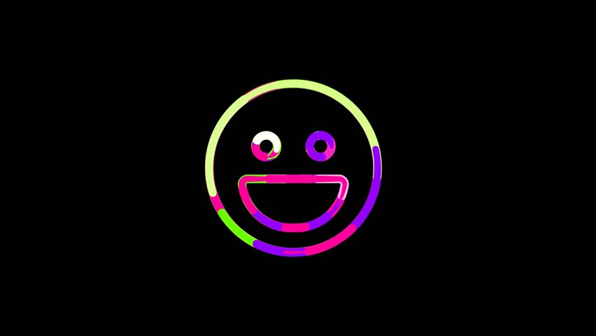 Circles gather in symbol laugh. After it crumbles in a line and moves to the camera. Alpha channel black | Shutterstock HD Video #1021443187